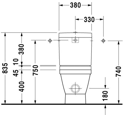 Чертеж - схема с размерами на унитаз Duravit Starck 3 012609.
