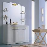 Мебель для ванных комнат Eurolegno серия Hollywood Eurolegno Hollywood Композиция №55 Комплект мебели 130 см, цвет: глянцевый белый